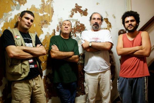 O cartunista Carlos Latuff, João Zinclair, o cineasta Carlos Pronzatto e o cartunista João da Silva